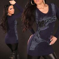 Miniabito Donna Pullover Lungo Maglia Cashmere/Seta ISF B425 Tg S/M M/L