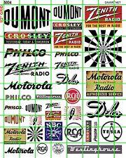 5004 DAVE'S DECALS HO RADIO TV LOGO SM SIZE ASSORTED VINTAGE BUILDING SIGNS