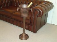 Floor Standing Champagne Ice Bucket Vintage Copper Finish Wine Cooler Bar Drinks