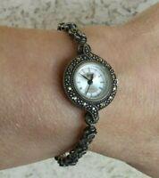 "HF Sterling & Marcasite Swiss Movement Bracelet Watch 6 1/2"" Wrist New Battery"