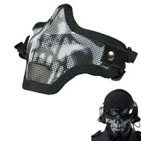 Military Airsoft Protective Half Face Mask Metal Steel Hunting Tactical Net nice