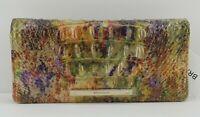 New Brahmin Melbourne Ady Bifold Wallet Clutch Harvest Melbourne Purple Gold Grn