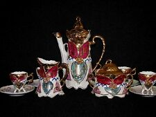 Vintage Lusterware Coffee Chocolate Set Gold Gilding Pink Turquoise Germany