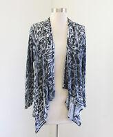 Soma Gray Slate Lightweight Burnout Open Drape Front Cardigan Sweater Size M