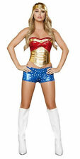 Sexy Sequined Wonder Woman Halloween Costume Red/Gold/Blue SMALL