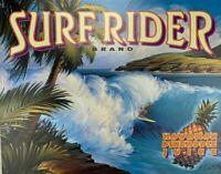 Vintage Surf Rider Hawaiian Pineapple Juice Tin 12.5 x 16 Aluminum Sign