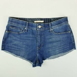 Levi's 525 Size 12 Perfect Waist Mid-Rise Medium Blue Cut Off Women's Shorts
