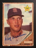 Ray Washburn Cardinals Signed 1962 Topps Rc Rookie Auto Autograph Card #19