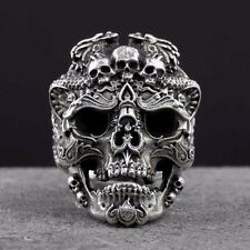 Sterling Silver 925 Ring Skulls Vintage Party Face Bad Demon Badass Gothic Retro