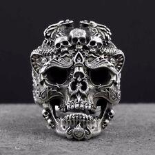 Silver 925 Ring Skulls Skull Face Bad Demon Ghost Gothic Retro Badass Evil Dark
