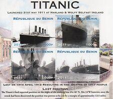 "TITANIC OCEAN LINER BOAT REPUBLIQUE DU BENIN 6"" x 5"" 2011 MNH STAMPS SHEET"