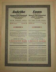 GERMANY 6% Bond Hagen 5 Million Marks 1924 UNCANCELLED +coupons