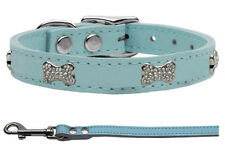 Genuine Leather Dog Collars and Leash Combo with Crystal Bones