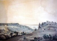Wilhelm HEUER (1813-1890) Alt-Color Litho 1853: Hamburg BLANKENESE an der Elbe