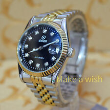 Stainless Auto Mechanical Luxury Gold Skeleton Hollow Self-wind Date Wrist Watch