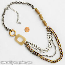 Chico's Signed Necklace Long Gold & Silver Tone Multi Chain Prong Set Crystals