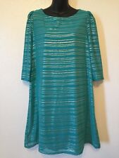 cd26f07047f GB Tunic Dress Turquoise Silver Zig Zag Sheer Sleeves Womens Size Large