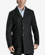 $340 MICHAEL KORS Men BLACK OVERCOAT WOOL SLIM FIT WINTER JACKET WARM COAT L