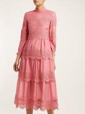 £1150 Vilshenko NEW WITH TAG Pink Cotton/Silk Lace Dress Uk 12 Juliette Luxury