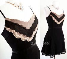 NEW Black Nude Beige Lace Scallop Trim SEXY Boho 100% Silk Airy Flowy Cami Dress