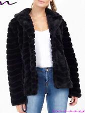 NEW Womens AVIATOR Coat Ladies Designer Faux Fur Short Chevron Jacket Size 8-16