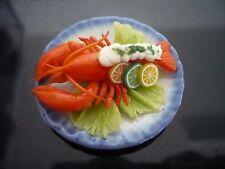 Lobster Cream Sauce Seafood on Plates Dollhouse Miniatures Food Barbie