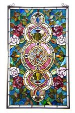 "Tiffany Style Stained Glass Window Panel Floral Medallion 20"" W X 32"" L   PAIR"