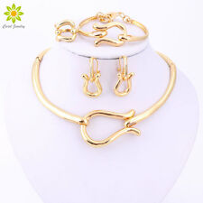 Gold Plated Choker Necklace Earrings Bracelet Ring Wedding Set Party Accessories