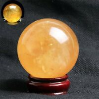 Yellow Natural Ball Sphere Decor Citrine Healing Quartz Crystal 40mm Gemstone