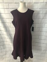NWT Tommy Hilfiger Sleeveless Dress Sz 14 Eggplant Flare Bottom Career Cocktail