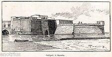 Gallipoli: Il Castello. Salento.Lecce.Puglia. Stampa Antica + Passepartout. 1901