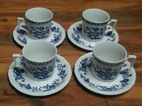 Kensington Coventry Blue Set of (4) Cups & Saucers Onion Staffordshire Ironstone