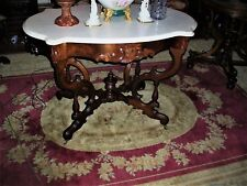 large antique rosewood marble turtle top center table by belter. org. finish