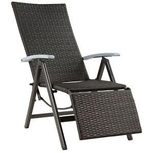 Fauteuil relax chaise longue de jardin pliant en résine tressée et aluminium