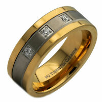 8mm Tungsten Carbide Gold Plated 2 CZs With Stainless Steel Center Ring
