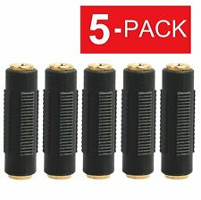 5 Pcs 3.5mm Stereo Audio Gold Plated Female to Female Jack Coupler Adapter Black