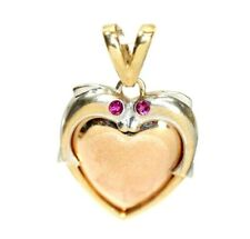"""""""2 Dolphins"""" 14K TWO-TONE GOLD Heart Necklace Pendant: 2.2 Grams"""