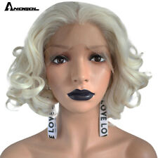 Anogol Short Wave Wig Platinum Blonde Bob Synthetic Lace Front Wig for Women