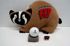 Badger Items - Pillow, Gold Ball, and Pin  Badger shaped pillow, small approxima