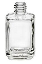 Empty Nail Polish Square Shape Bottle 1/2oz -Clear Glass Lot of 6 w/Brush & Cap