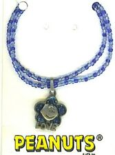 Peanuts Charlie Brown Vintage LOVE Necklace on Blue Neck, Made in USA, NEW