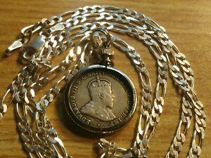 "AU.1910 AUSTRALIA SILVER SIXPENCE Pendant & Diamond Cut 28"" Italian Silver Chain"