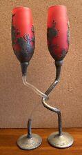 Unique Art On Cameo Glass Decorative Champagne Glasses