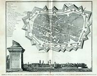 Pianta e Veduta di Lucca nel 1820. Carta topografica. + Passepartout. 1901