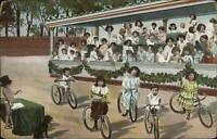 Multiple Babies Children Fantasy Bicycles c1910 Postcard