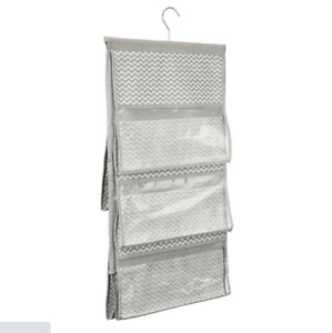 InterDesign 5-Pocket Hanging Handbag Organizer Chevron, Taupe/Gray Space Save
