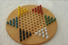 """Wooden 12"""" Chinese Checkers Set - Mint Condition L#521"""