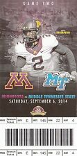 2014 MINNESOTA GOLDEN GOPHERS VS MIDDLE TENNESSEE STATE TICKET STUB 9/6/14