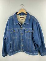 Lee Vintage Men's Sherpa Lined Denim Jacket with Front Pockets - Size XL Blue
