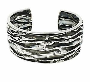 Women's Chunky 925 Sterling Silver Cuff Bangle Bracelet Crushed Design